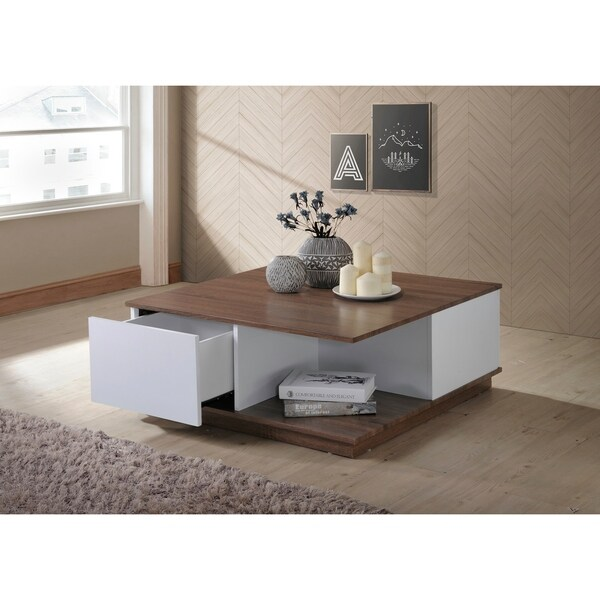 White Walnut Coffee Table: Shop Carter Walnut/White Finish Coffee Table With Storage