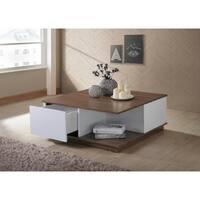 Carter Walnut/White Finish Coffee Table with Storage - 33.46l x 33.46w x 13.78h
