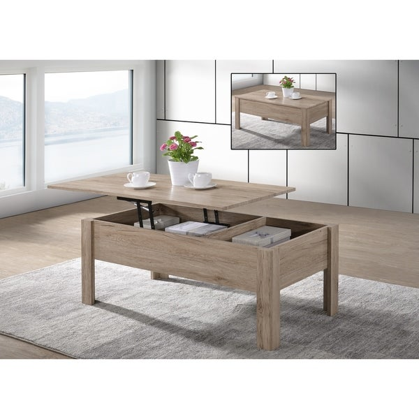 shop emily light oak finish lift top coffee table with storage x x on sale. Black Bedroom Furniture Sets. Home Design Ideas