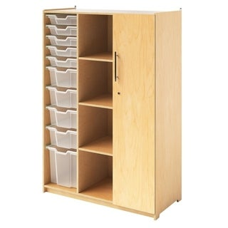 Whitney Brothers Birch Plywood Teachers Wardrobe with Trays and Locking Door