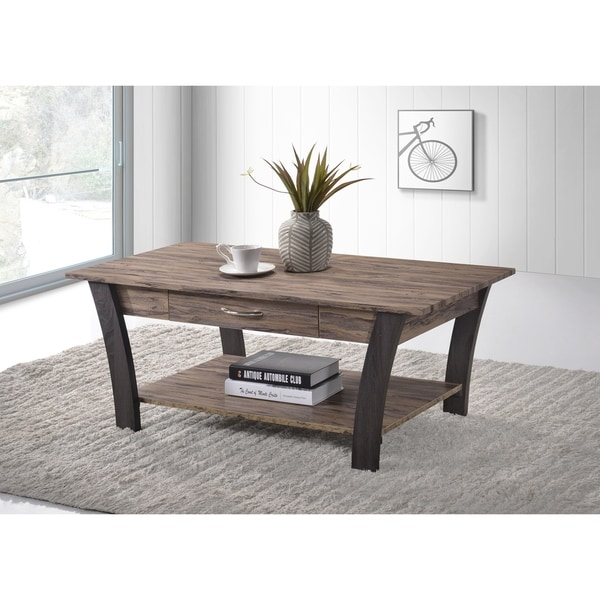 Shop Zag Light Brown Dark Gray Finish Coffee Table With
