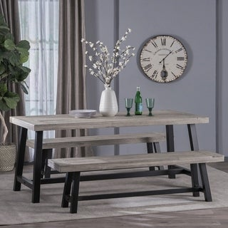 Jubilee Indoor Farmhouse 3 Piece Acacia Wood Picnic Set by Christopher Knight Home