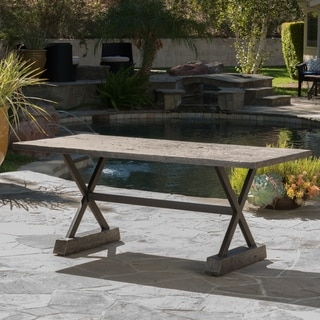 "Link to Numana Outdoor Lightweight Concrete Dining Table by Christopher Knight Home - 70.00""D x 32.00""W x 29.00""H Similar Items in Outdoor Coffee & Side Tables"