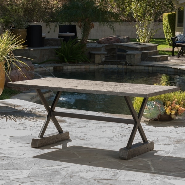 "Numana Outdoor Lightweight Concrete Dining Table by Christopher Knight Home - 70.00""D x 32.00""W x 29.00""H. Opens flyout."