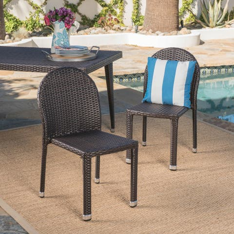 Aurora Outdoor Multibrown Wicker Stacking Chairs with an Aluminum Frame (Set of 2) by Christopher Knight Home