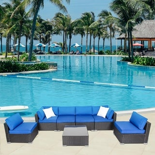 Kinbor 7 Pcs Outdoor Furniture Patio Sectional Furniture Set All-Weather Cushioned Rattan Wicker Sofa Set Royal Blue