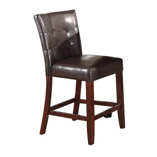 Leather Upholstered Wooden Counter Height Chair, Brown, Set Of 2