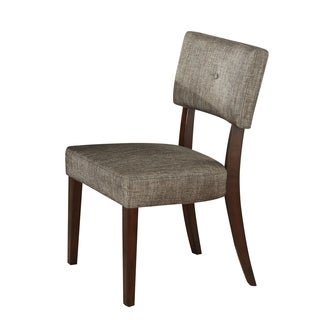 Wooden Side Chair , Grey Fabric, Set Of 2