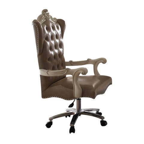 Leather Upholstered Executive Chair with Lift in Grey and Bone White Finish