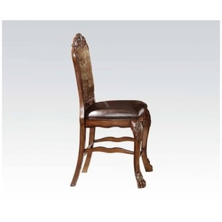 Wooden Counter Height Chair , Cherry Oak Brown, Set of 2