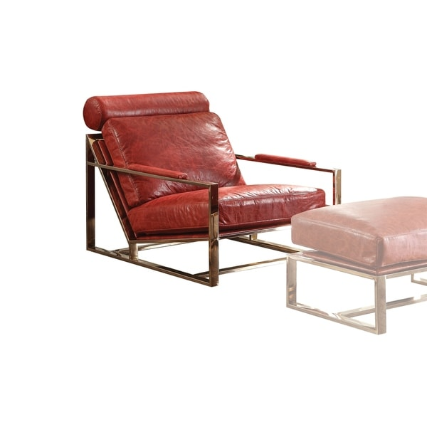 Metal Frame Leather Upholstered Accent Chair In Red