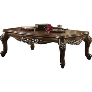 Intricately Carved Wooden Coffee Table in Antique Oak Brown