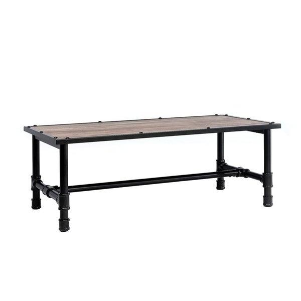 Rustic Brown Wood Coffee Table: Shop Wood Coffee Table With Metal Frame, Rustic Oak Brown