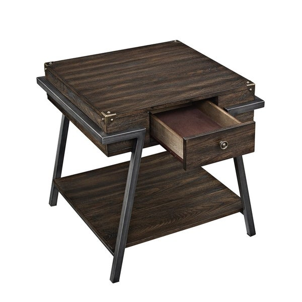 Wooden End Table with One Drawer and One Shelf, Weathered Dark Oak Brown