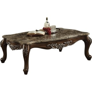Wooden Coffee Table with Marble Top in Antique Oak Brown