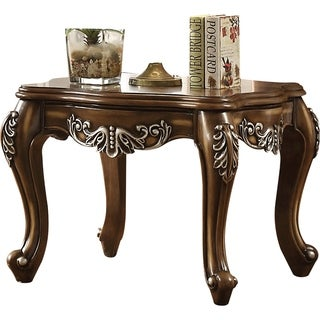 Wooden End Table With Fine Scrolled Work, Antique Oak Brown