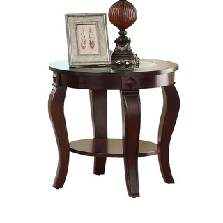 Round Wooden End Table With Glass Insert Top, Walnut Brown