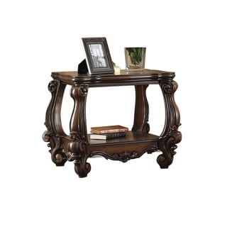 Wooden End Table with Bottom Shelf in Cherry Brown
