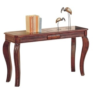 Wooden Sofa Table With Glass Inserts Top, Cherry Brown