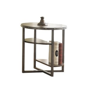 Wooden End Table with 2 Tier Open Shelf, Weathered Dark Oak Brown