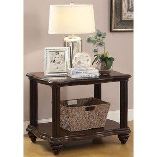 Wooden End Table with Lower Shelf, Dark Walnut Brown