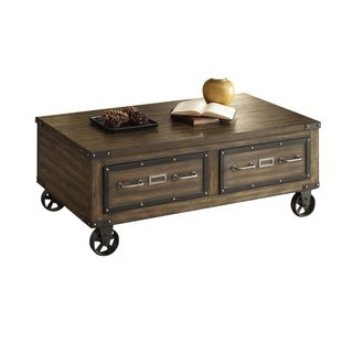Wood Coffee Table with 2 Drawers in Weathered Dark Oak Brown