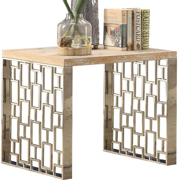 Wooden End Table with Metal Frame in Light Oak Brown and Stainless Steel Finish