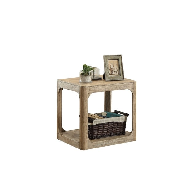 Wooden End Table with Lower Shelf, Natural Oak Brown