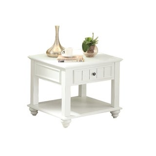Wooden End Table with One Drawer and Bottom Shelf in White