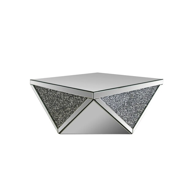 Coffee Table with Square Mirrored Top, Clear