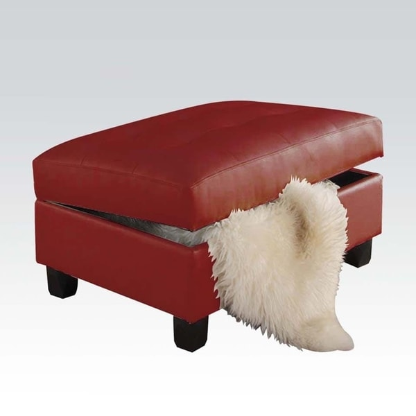 Shop Leather Tufted Ottoman With Storage Red Free