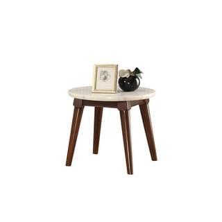 Wooden Base End Table with Marble Top, Walnut Brown
