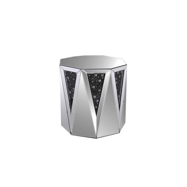End Table With Octagonal Mirrored Top, Clear And Black