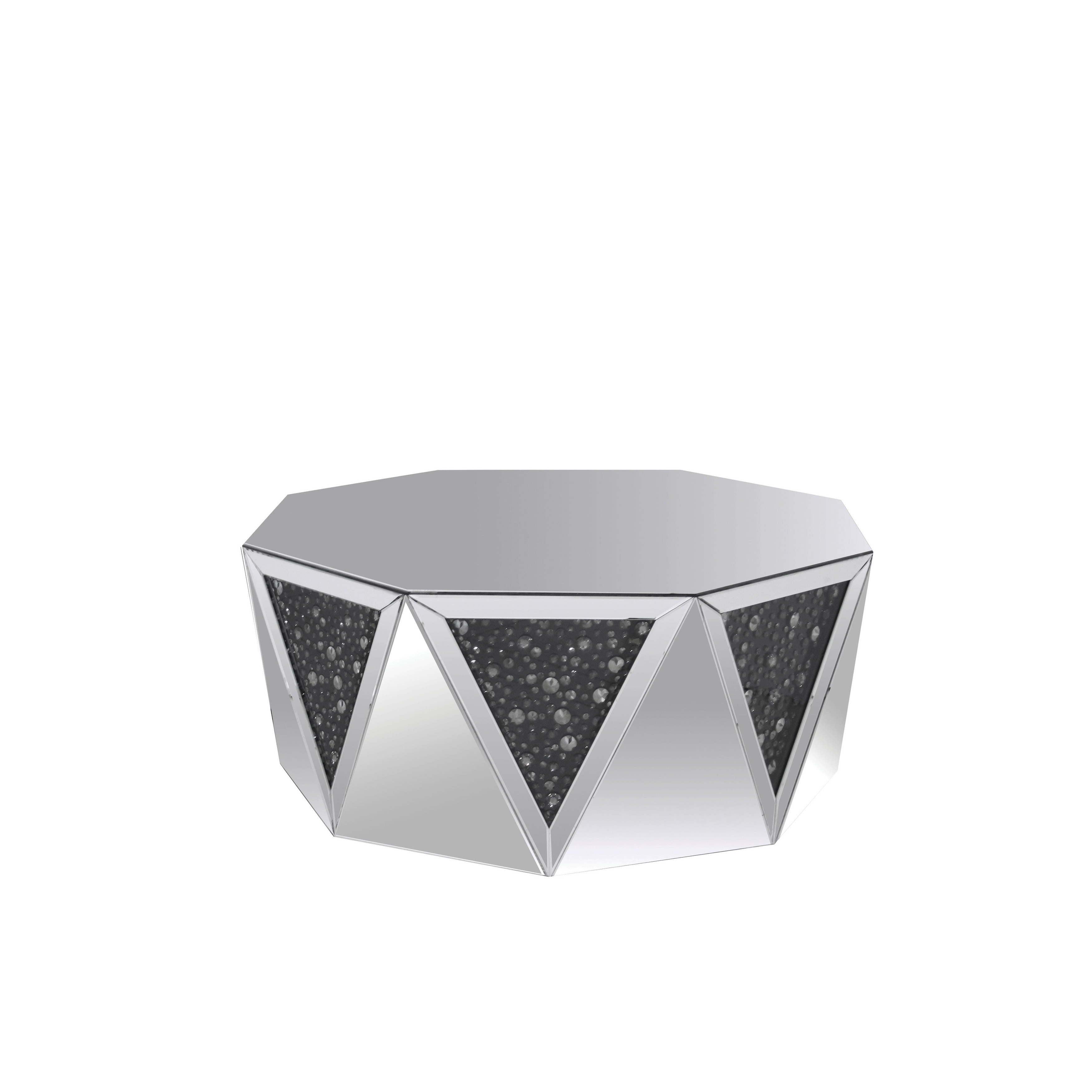 Picture of: Shop Coffee Table With Octagonal Mirrored Top Clear And Black On Sale Overstock 22869392