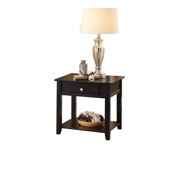 Wooden End Table with One Drawer and One Shelf, Black