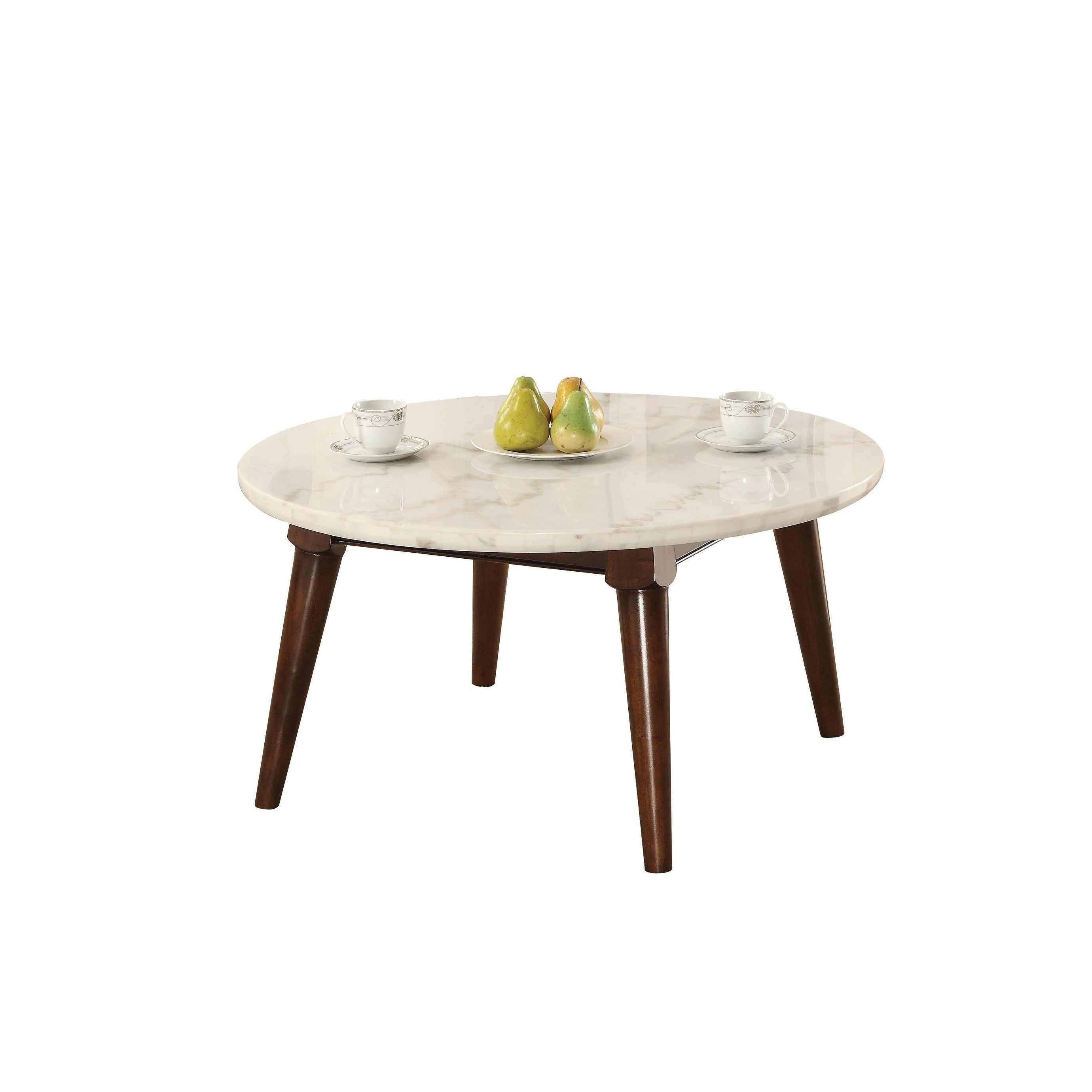 - Shop Wood Base Coffee Table With Marble Top, Walnut Brown