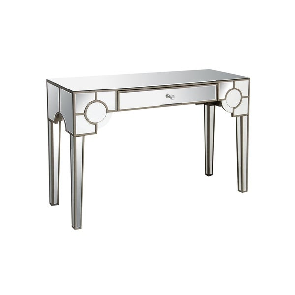 Mirrored Console Table With One Drawer, Clear