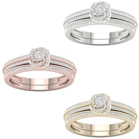 De Couer 10k Gold 1/3ct TDW Diamond Halo Bridal Set