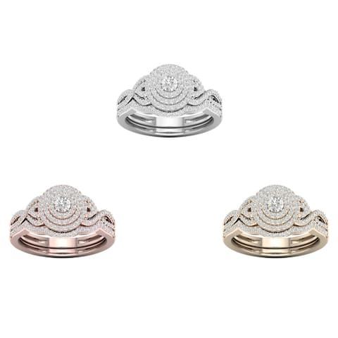 De Couer 10k Gold 1/2ct TDW Diamond Halo Bridal Set