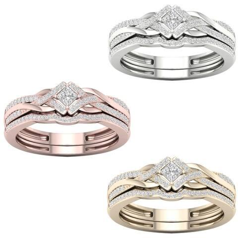 De Couer 10k Gold 1/3ct TDW Diamond Criss Cross Bridal Set