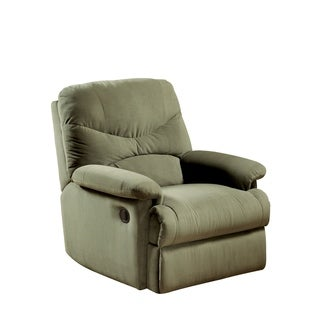 Fabric Upholstered Recliner With Padded Arms, Sage Green