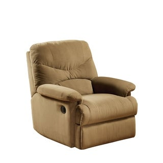 Fabric Upholstered Recliner With Padded Arms, Light Brown