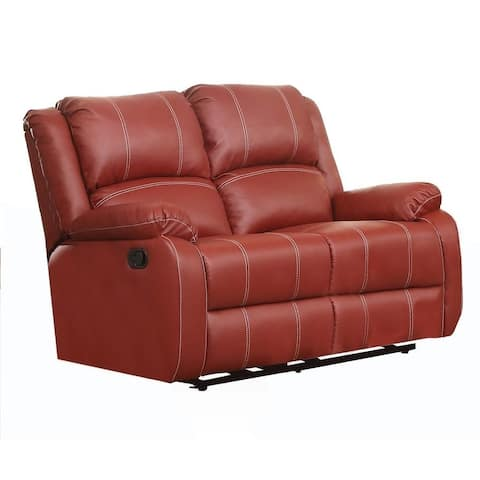 Faux Leather Upholstered Metal Loveseat with Dual Recliner, Red