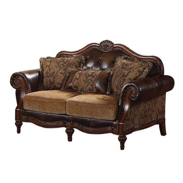 Leather & Fabric Upholstered Loveseat With Three Pillows, Brown