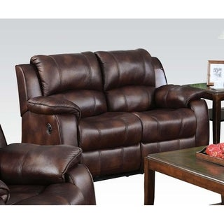 Leather Upholstered Motion Love Seat , Brown