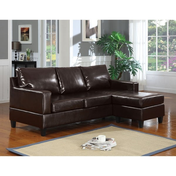 Leather Upholstered Sectional Sofa, Chocolate Brown