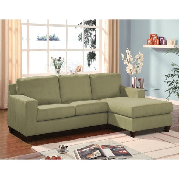 Incroyable Wood U0026amp; Fabric 3 Seat Sectional Sofa With Reversible Chaise, Sage Green