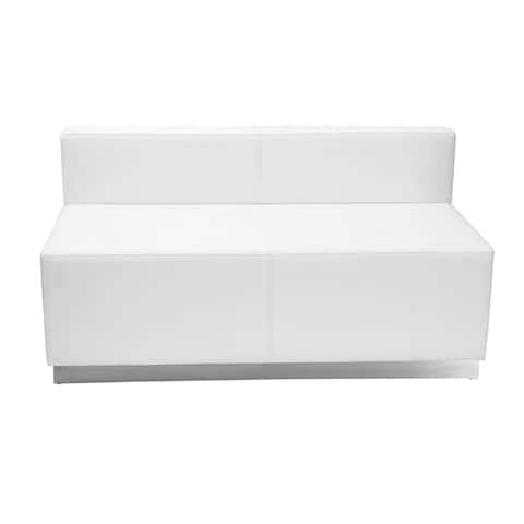 Offex Hercules Alon Series White Leather Loveseat with Brushed Stainless Steel Base - 51''W x 25.25''D x 27''H