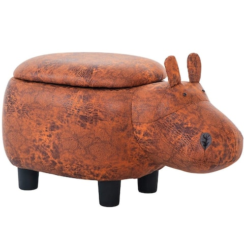 Merax Upholstered Ride-on Storage Brown Hippo Ottoman Footrest