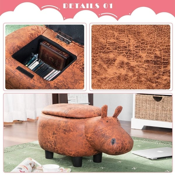 Excellent Shop Merax Upholstered Ride On Storage Brown Hippo Ottoman Short Links Chair Design For Home Short Linksinfo